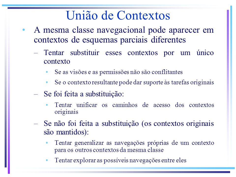 A mesma classe navegacional pode aparecer em contextos de esquemas parciais diferentes –Tentar substituir esses contextos por um único contexto Se as visões e as permissões não são conflitantes Se o contexto resultante pode dar suporte às tarefas originais –Se foi feita a substituição: Tentar unificar os caminhos de acesso dos contextos originais –Se não foi feita a substituição (os contextos originais são mantidos): Tentar generalizar as navegações próprias de um contexto para os outros contextos da mesma classe Tentar explorar as possíveis navegações entre eles União de Contextos