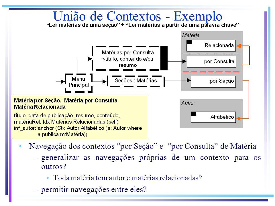 Navegação dos contextos por Seção e por Consulta de Matéria –generalizar as navegações próprias de um contexto para os outros.