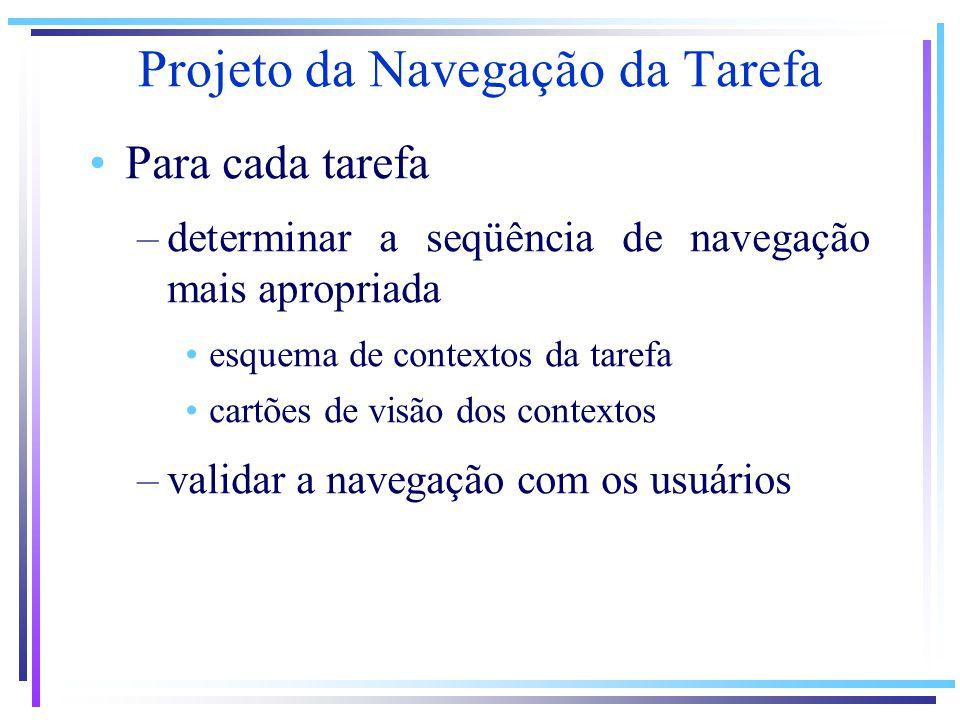 Projeto da Navegação da Tarefa Para cada tarefa –determinar a seqüência de navegação mais apropriada esquema de contextos da tarefa cartões de visão dos contextos –validar a navegação com os usuários