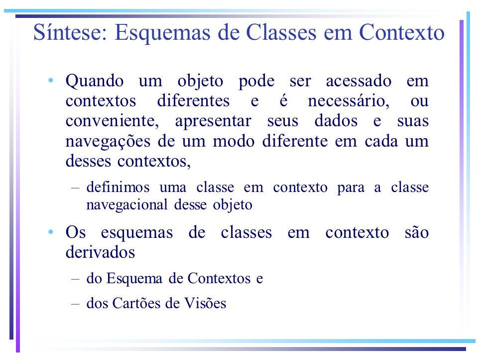 Quando um objeto pode ser acessado em contextos diferentes e é necessário, ou conveniente, apresentar seus dados e suas navegações de um modo diferente em cada um desses contextos, –definimos uma classe em contexto para a classe navegacional desse objeto Os esquemas de classes em contexto são derivados –do Esquema de Contextos e –dos Cartões de Visões Síntese: Esquemas de Classes em Contexto