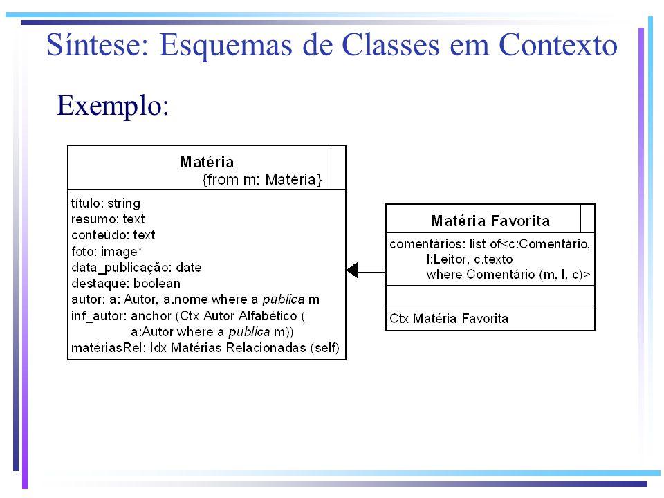Exemplo: Síntese: Esquemas de Classes em Contexto