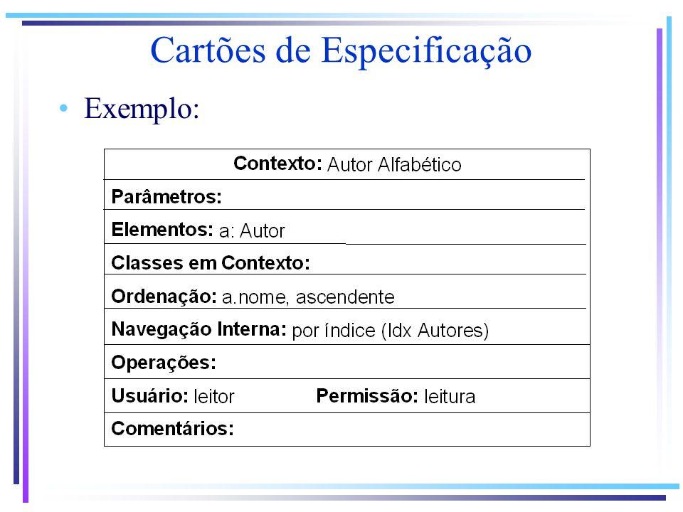 Exemplo: Cartões de Especificação