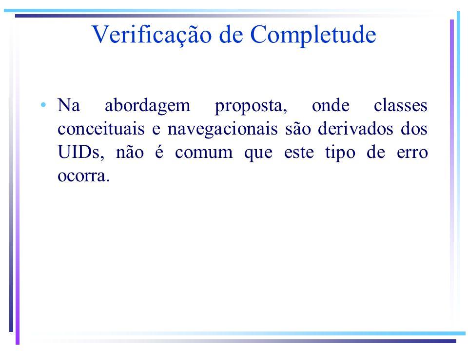Na abordagem proposta, onde classes conceituais e navegacionais são derivados dos UIDs, não é comum que este tipo de erro ocorra.
