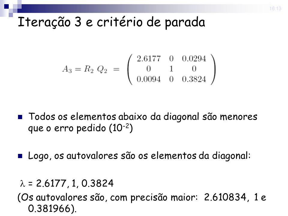 25 Nov 2008. 16:13 Iteração 3 e critério de parada Todos os elementos abaixo da diagonal são menores que o erro pedido (10 -2 ) Logo, os autovalores s