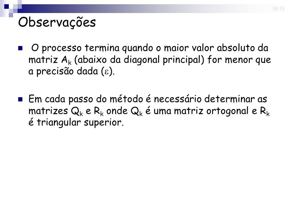 25 Nov 2008.16:13 Exemplo Determinar os autovalores da matriz com precisão 10 -2.