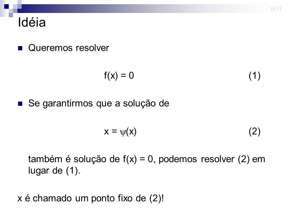 15:11 Idéia Queremos resolver f(x) = 0(1) Se garantirmos que a solução de x = (x) (2) também é solução de f(x) = 0, podemos resolver (2) em lugar de (