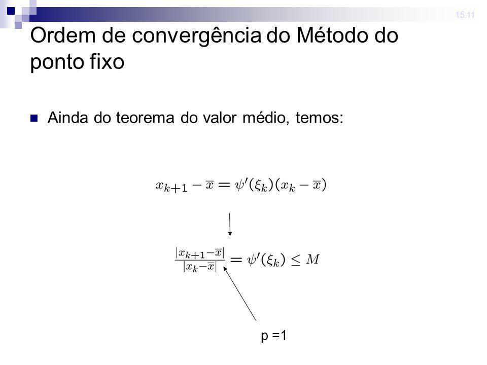 15:11 Ordem de convergência do Método do ponto fixo Ainda do teorema do valor médio, temos: p =1