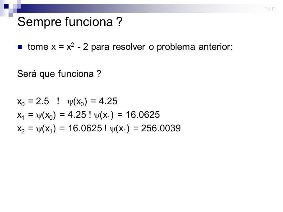 15:11 Sempre funciona ? tome x = x 2 - 2 para resolver o problema anterior: Será que funciona ? x 0 = 2.5 ! (x 0 ) = 4.25 x 1 = (x 0 ) = 4.25 ! (x 1 )