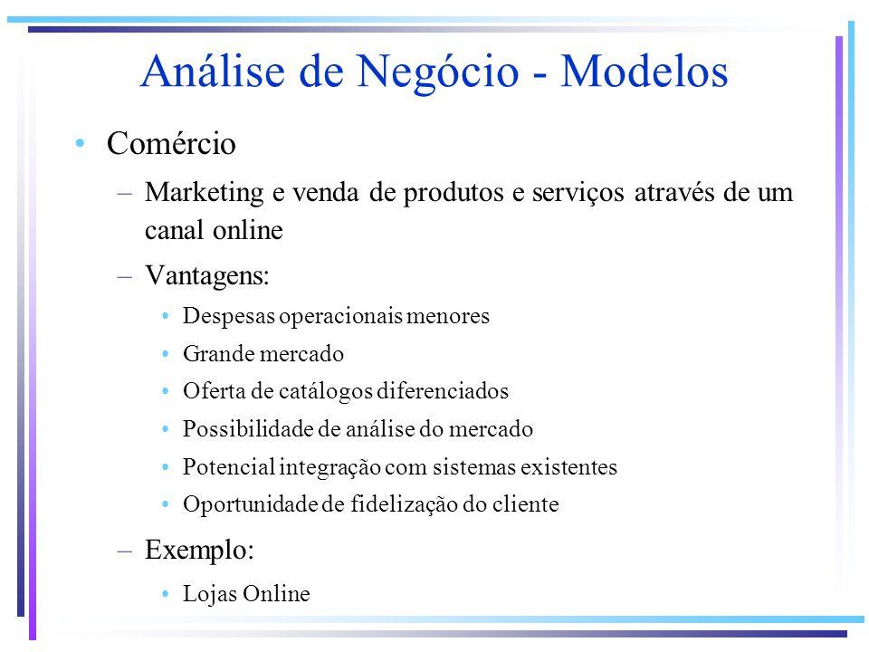 Análise de Negócio - Modelos Comércio –Marketing e venda de produtos e serviços através de um canal online –Vantagens: Despesas operacionais menores G