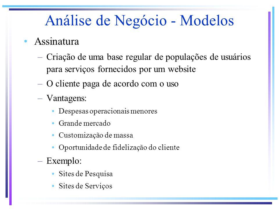 Assinatura –Criação de uma base regular de populações de usuários para serviços fornecidos por um website –O cliente paga de acordo com o uso –Vantage