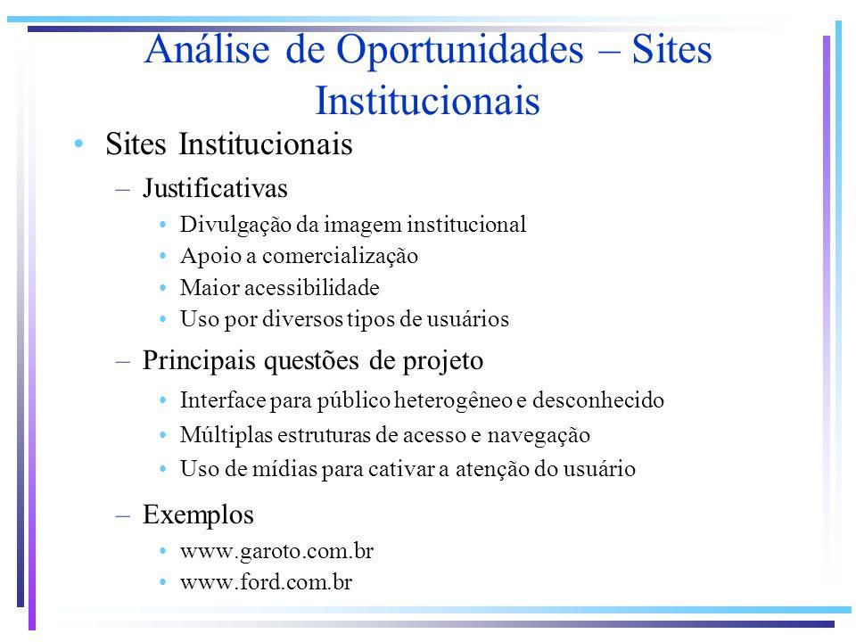 Sites Institucionais –Justificativas Divulgação da imagem institucional Apoio a comercialização Maior acessibilidade Uso por diversos tipos de usuário