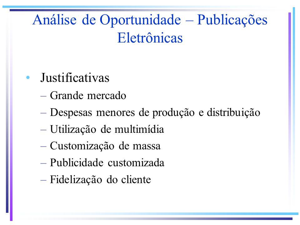 Justificativas –Grande mercado –Despesas menores de produção e distribuição –Utilização de multimídia –Customização de massa –Publicidade customizada