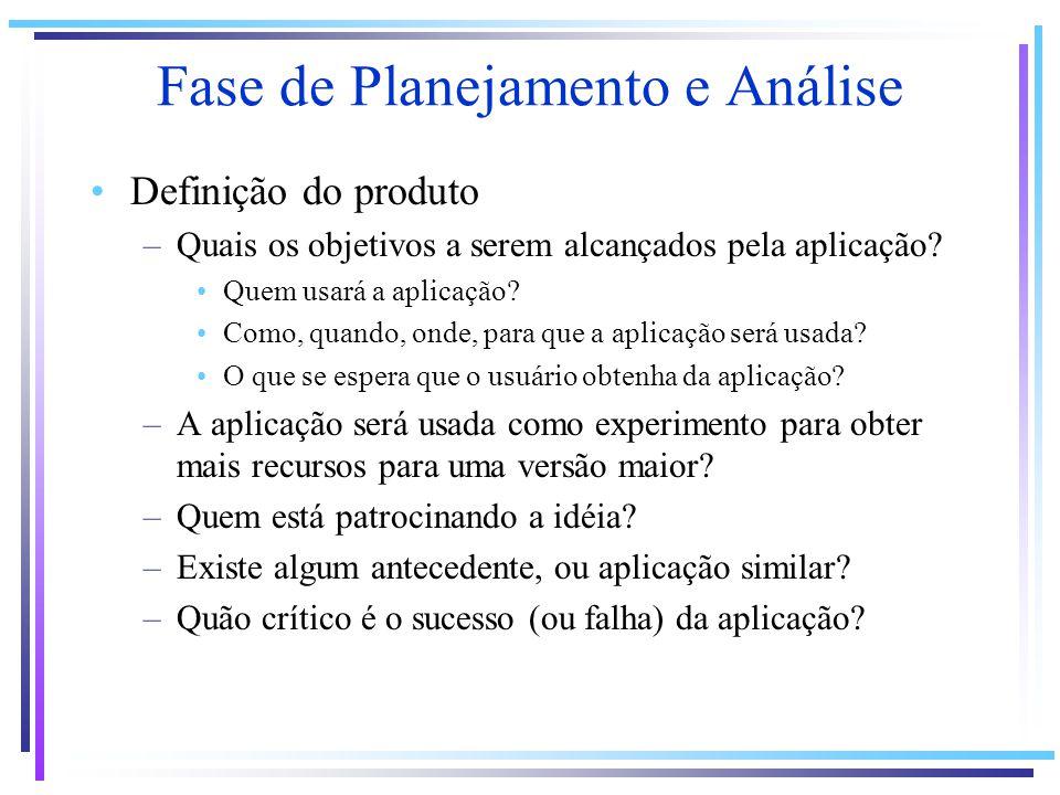 Fase de Planejamento e Análise Definição do produto –Quais os objetivos a serem alcançados pela aplicação? Quem usará a aplicação? Como, quando, onde,