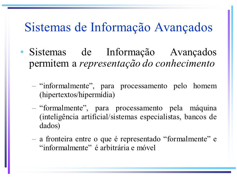 Sistemas de Informação Avançados Sistemas de Informação Avançados permitem a representação do conhecimento –informalmente, para processamento pelo hom
