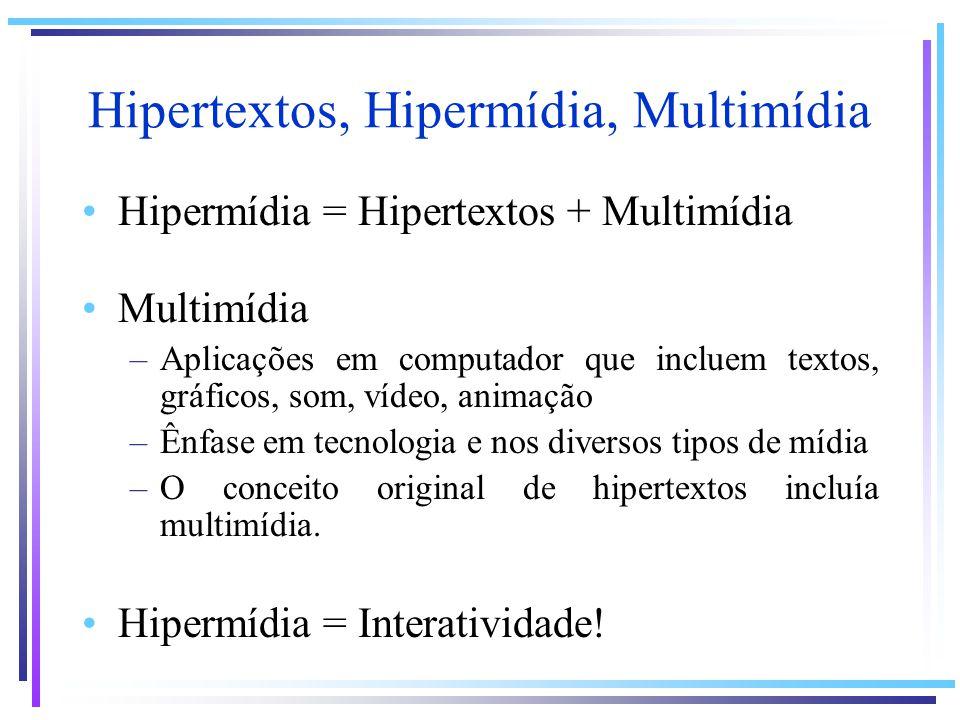 Definição de Hipermídia Hipermídia é um estilo de se construir sistemas para a criação, manipulação, apresentação e representação de informação no qual: –a informação é armazenada em uma coleção de nós multimídia –os nós são organizados implícita ou explicitamente em uma ou mais estruturas normalmente, uma rede de nós interconectados por elos –os usuários podem acessar a informação navegando através das estruturas de informação disponíveis (Definição de Hipermídia proposta por Halasz na HT 91 http://www.parc.xerox.com/spl/projects/halasz-keynote/)