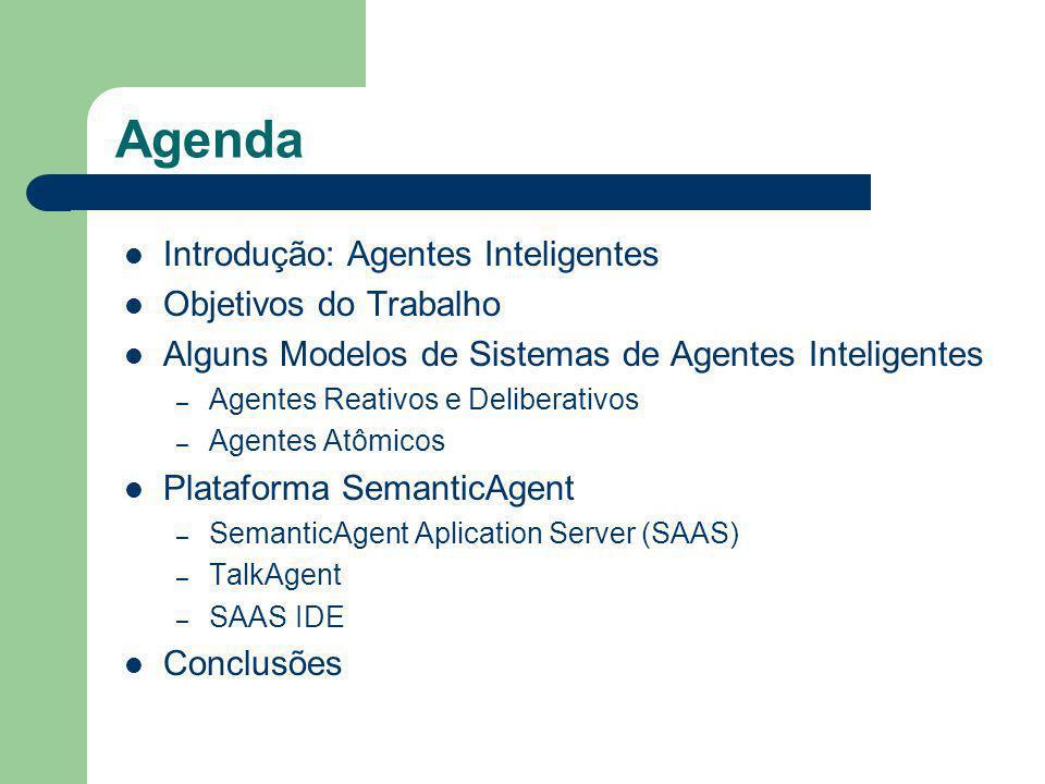 Agenda Introdução: Agentes Inteligentes Objetivos do Trabalho Alguns Modelos de Sistemas de Agentes Inteligentes – Agentes Reativos e Deliberativos – Agentes Atômicos Plataforma SemanticAgent – SemanticAgent Aplication Server (SAAS) – TalkAgent – SAAS IDE Conclusões