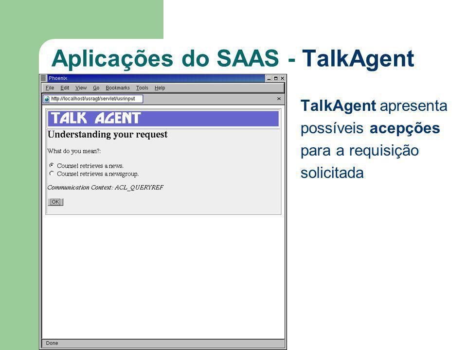 Aplicações do SAAS - TalkAgent TalkAgent apresenta possíveis acepções para a requisição solicitada