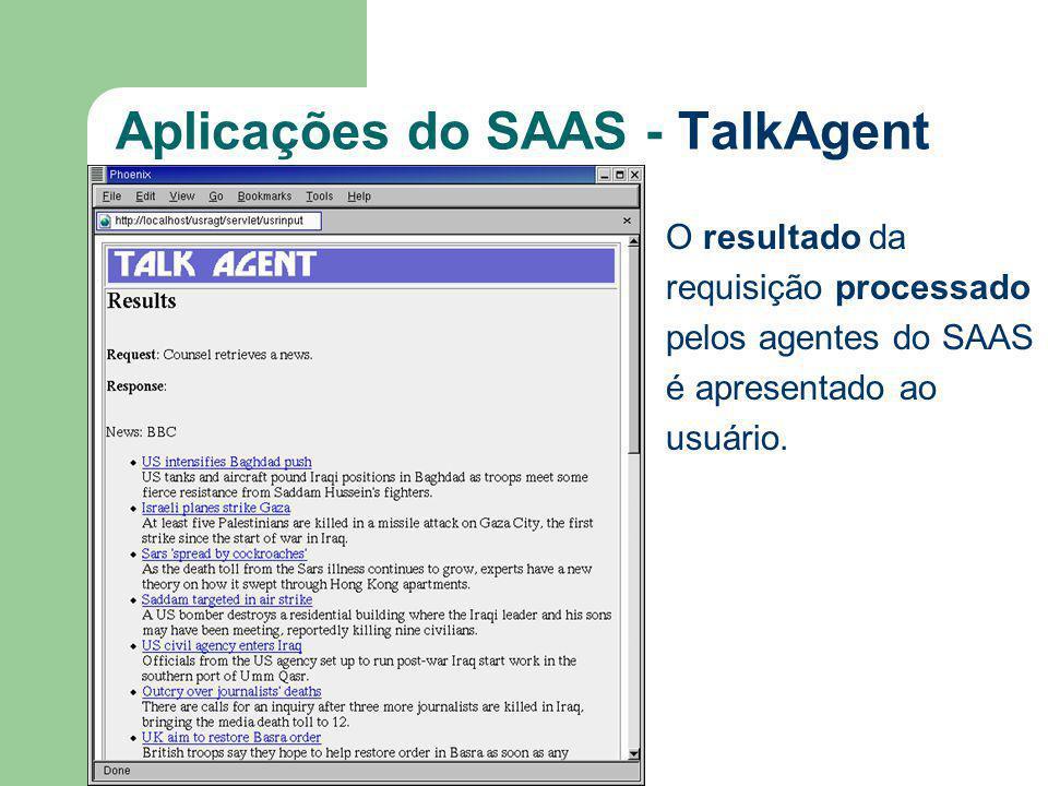 Aplicações do SAAS - TalkAgent O resultado da requisição processado pelos agentes do SAAS é apresentado ao usuário.