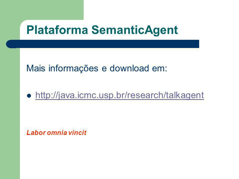 Plataforma SemanticAgent Mais informações e download em: http://java.icmc.usp.br/research/talkagent Labor omnia vincit