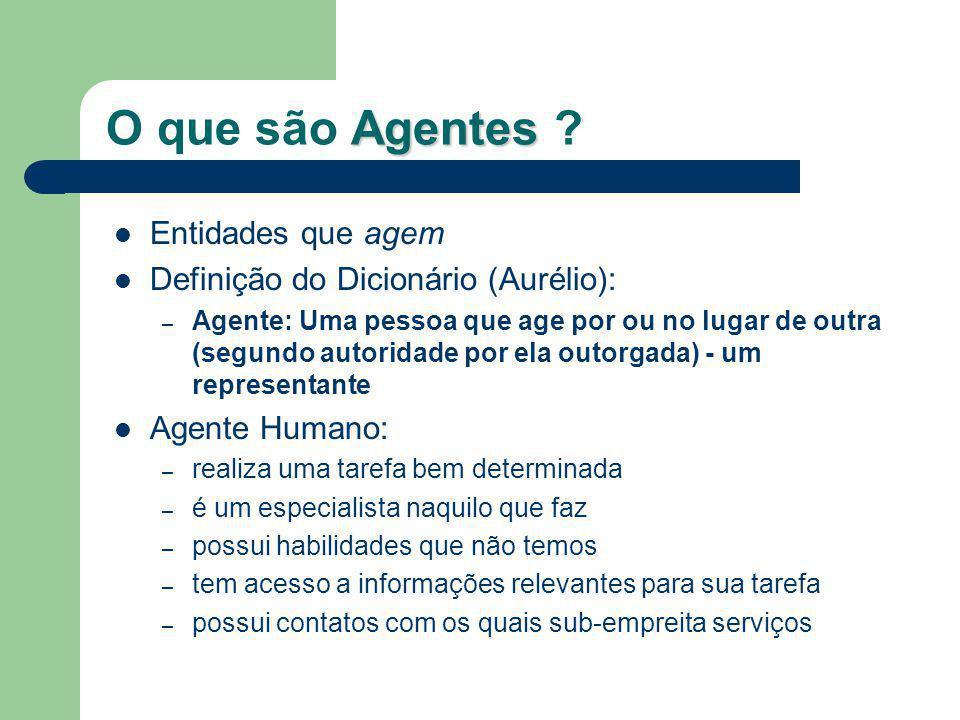 Agentes O que são Agentes ? Entidades que agem Definição do Dicionário (Aurélio): – Agente: Uma pessoa que age por ou no lugar de outra (segundo autor