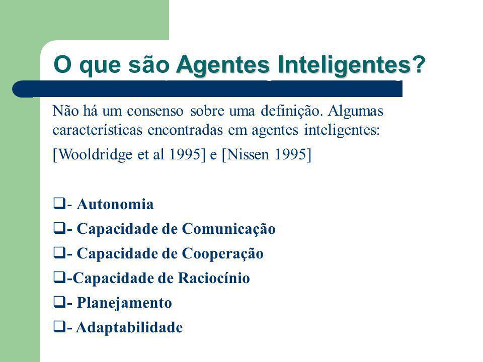 Não há um consenso sobre uma definição. Algumas características encontradas em agentes inteligentes: [Wooldridge et al 1995] e [Nissen 1995] - Autonom