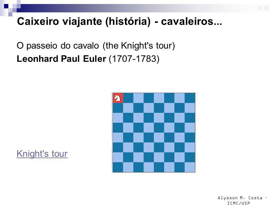 Alysson M. Costa – ICMC/USP 4 mar 2009. 11:37 Caixeiro viajante (história) - cavaleiros... O passeio do cavalo (the Knight's tour) Leonhard Paul Euler