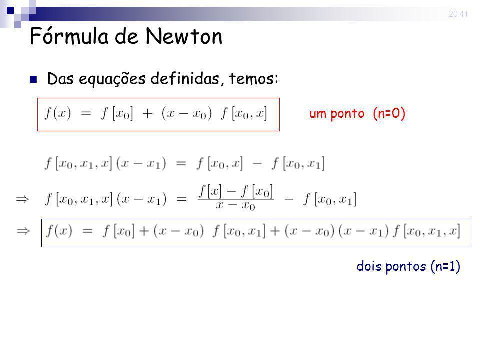 15 May 2008. 20:41 Fórmula de Newton Das equações definidas, temos: um ponto (n=0) dois pontos (n=1)