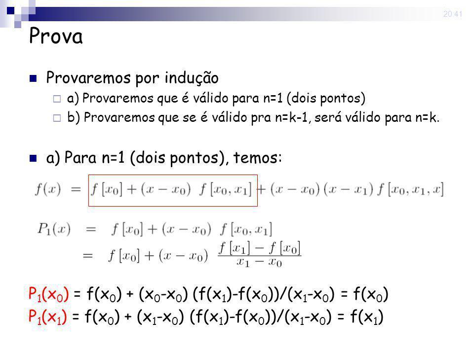 15 May 2008. 20:41 Prova Provaremos por indução a) Provaremos que é válido para n=1 (dois pontos) b) Provaremos que se é válido pra n=k-1, será válido