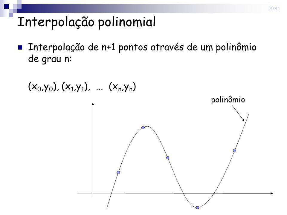 15 May 2008. 20:41 Interpolação polinomial Interpolação de n+1 pontos através de um polinômio de grau n: (x 0,y 0 ), (x 1,y 1 ),... (x n,y n ) polinôm