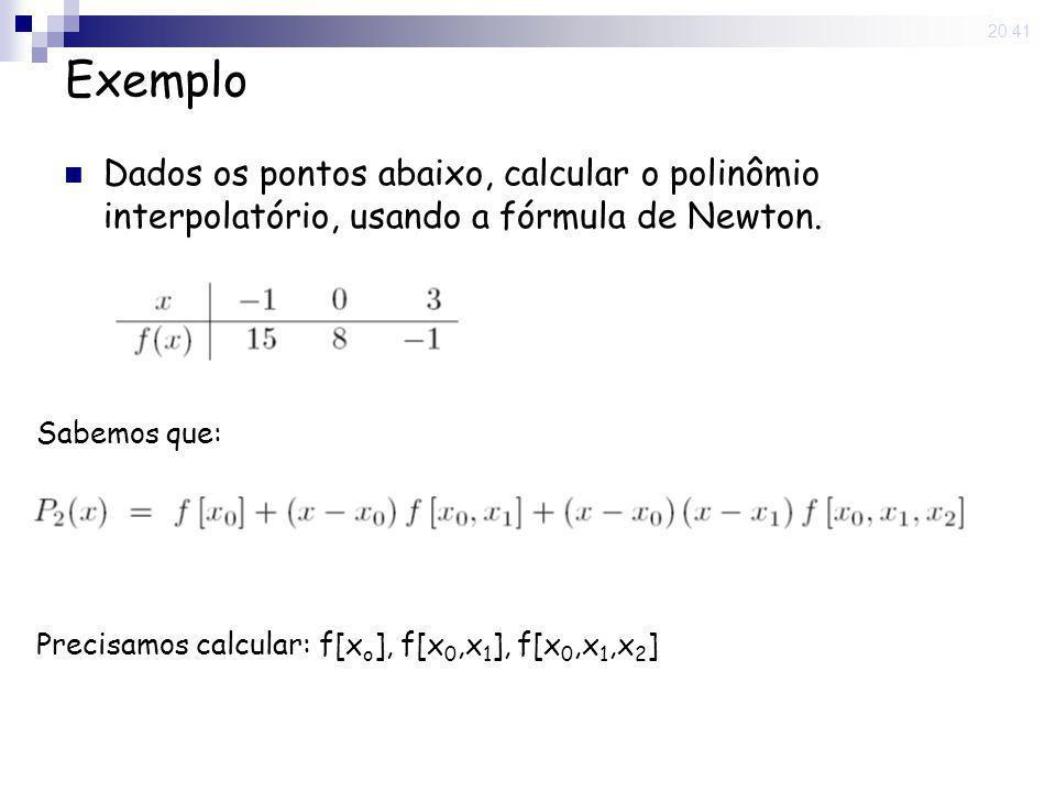 15 May 2008. 20:41 Exemplo Dados os pontos abaixo, calcular o polinômio interpolatório, usando a fórmula de Newton. Sabemos que: Precisamos calcular: