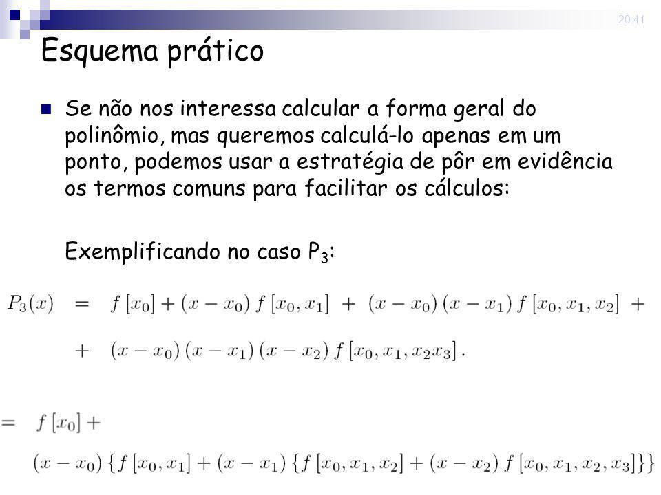 15 May 2008. 20:41 Esquema prático Se não nos interessa calcular a forma geral do polinômio, mas queremos calculá-lo apenas em um ponto, podemos usar