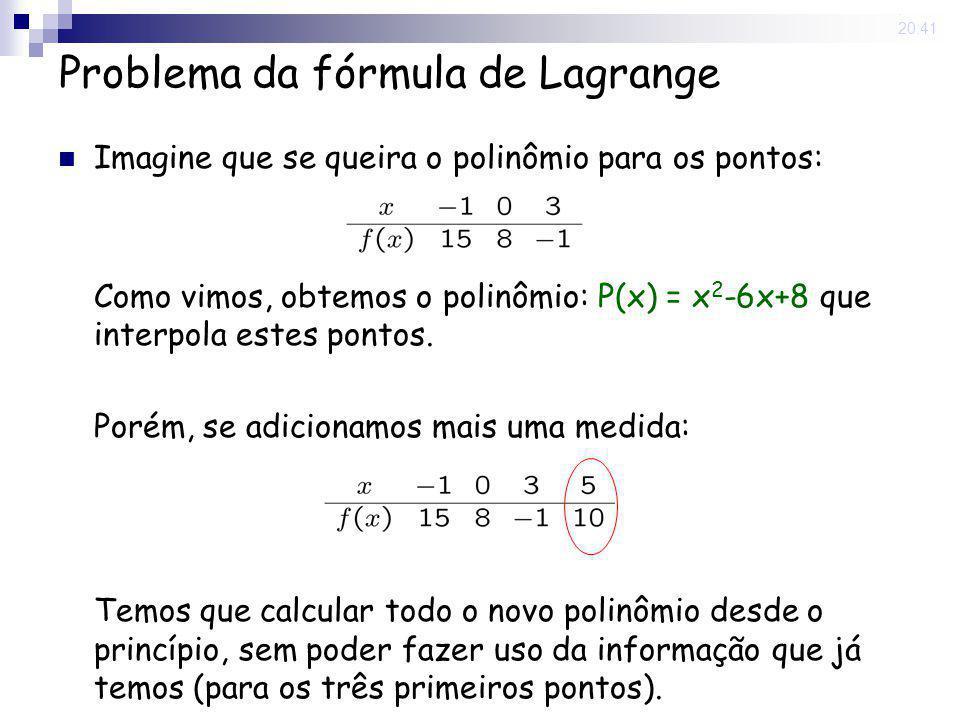 15 May 2008. 20:41 Problema da fórmula de Lagrange Imagine que se queira o polinômio para os pontos: Como vimos, obtemos o polinômio: P(x) = x 2 -6x+8