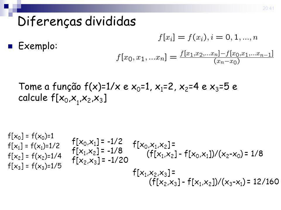 15 May 2008. 20:41 Diferenças divididas Exemplo: Tome a função f(x)=1/x e x 0 =1, x 1 =2, x 2 =4 e x 3 =5 e calcule f[x 0,x 1,x 2,x 3 ] f[x 0 ] = f(x