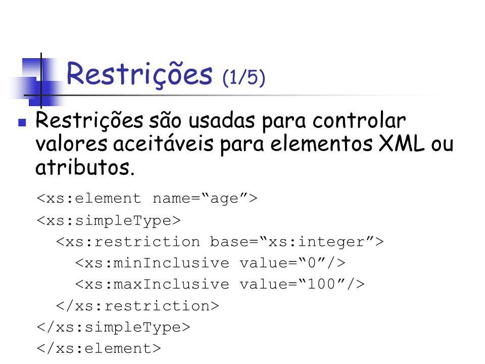 Restrições (1/5) Restrições são usadas para controlar valores aceitáveis para elementos XML ou atributos.