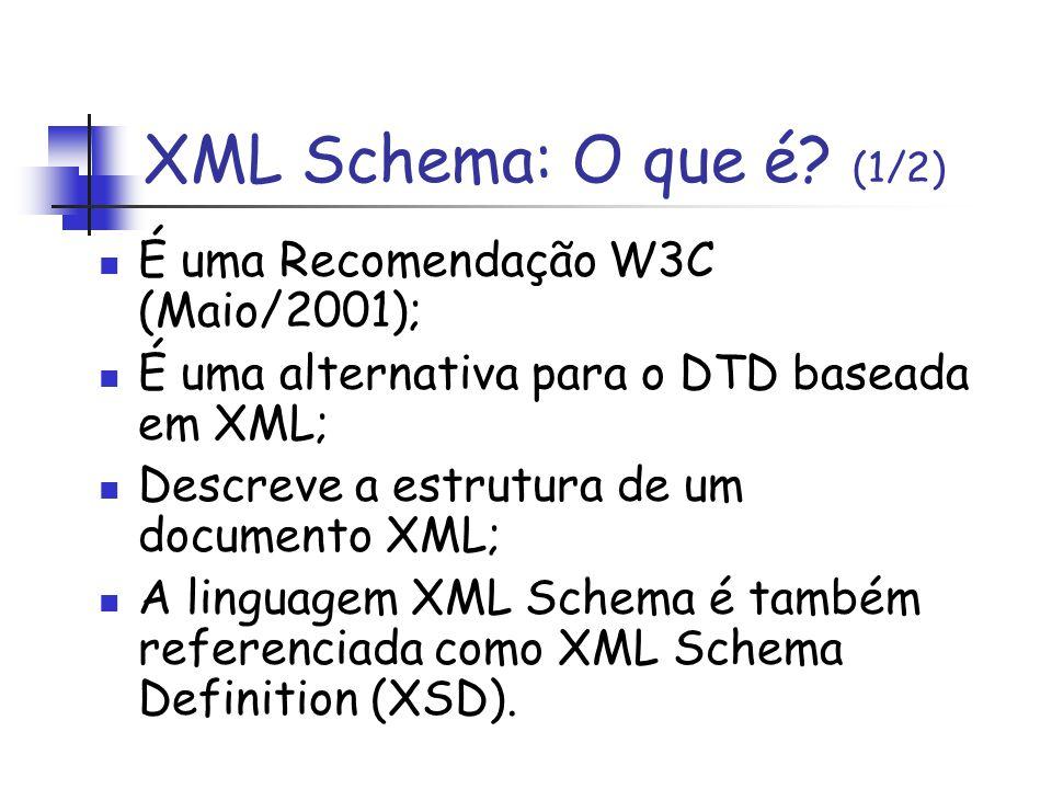 XML Schema: O que é? (1/2) É uma Recomendação W3C (Maio/2001); É uma alternativa para o DTD baseada em XML; Descreve a estrutura de um documento XML;