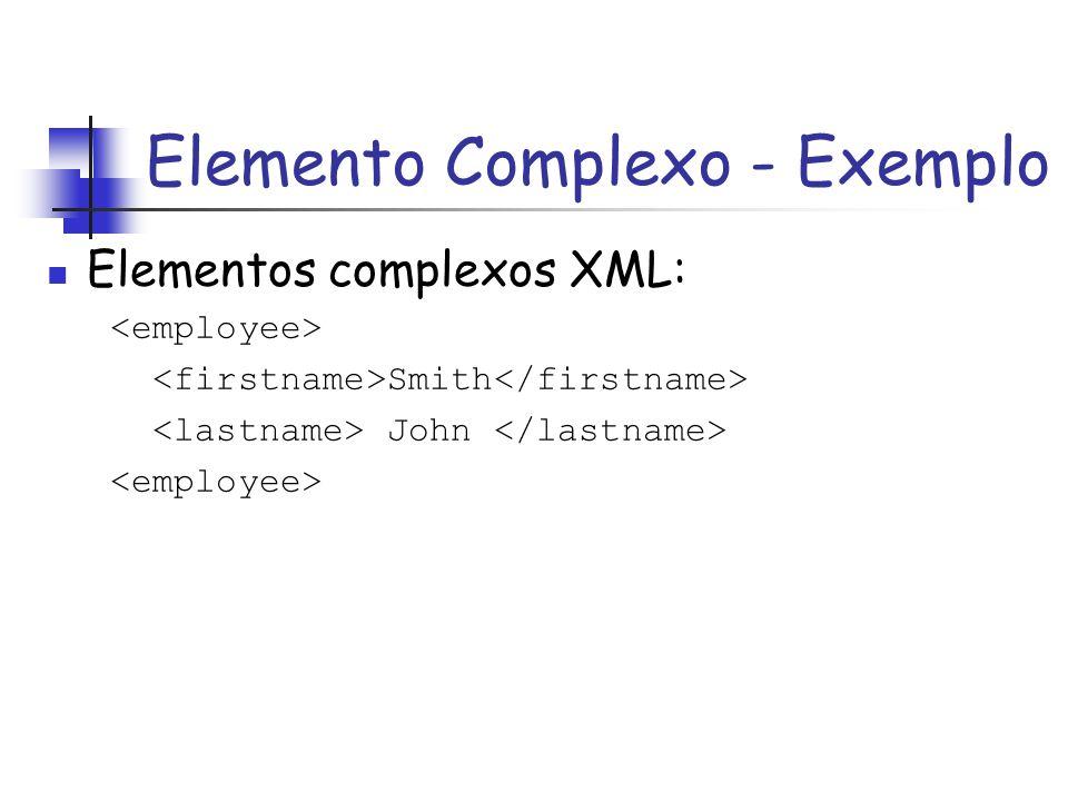 Elementos complexos XML: Smith John Elemento Complexo - Exemplo