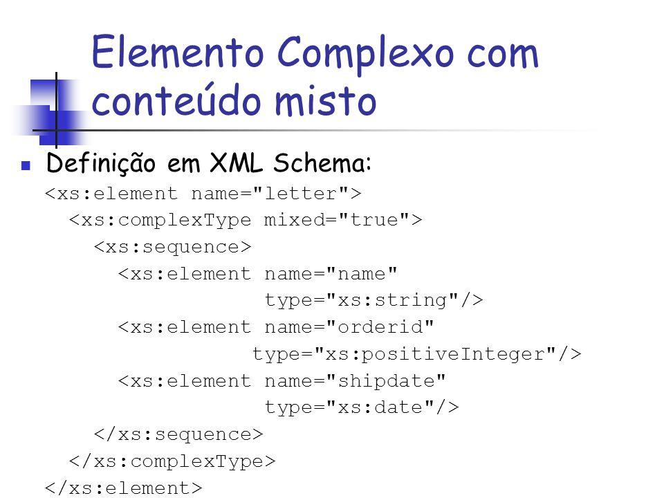 Definição em XML Schema: <xs:element name=