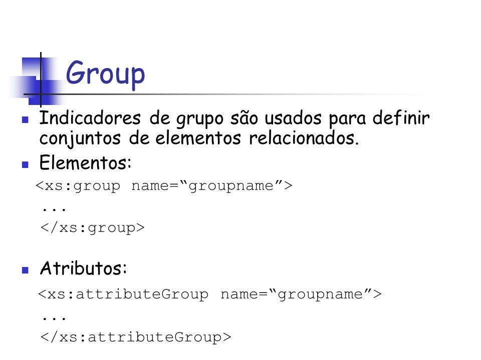 Group Indicadores de grupo são usados para definir conjuntos de elementos relacionados. Elementos:... Atributos:...