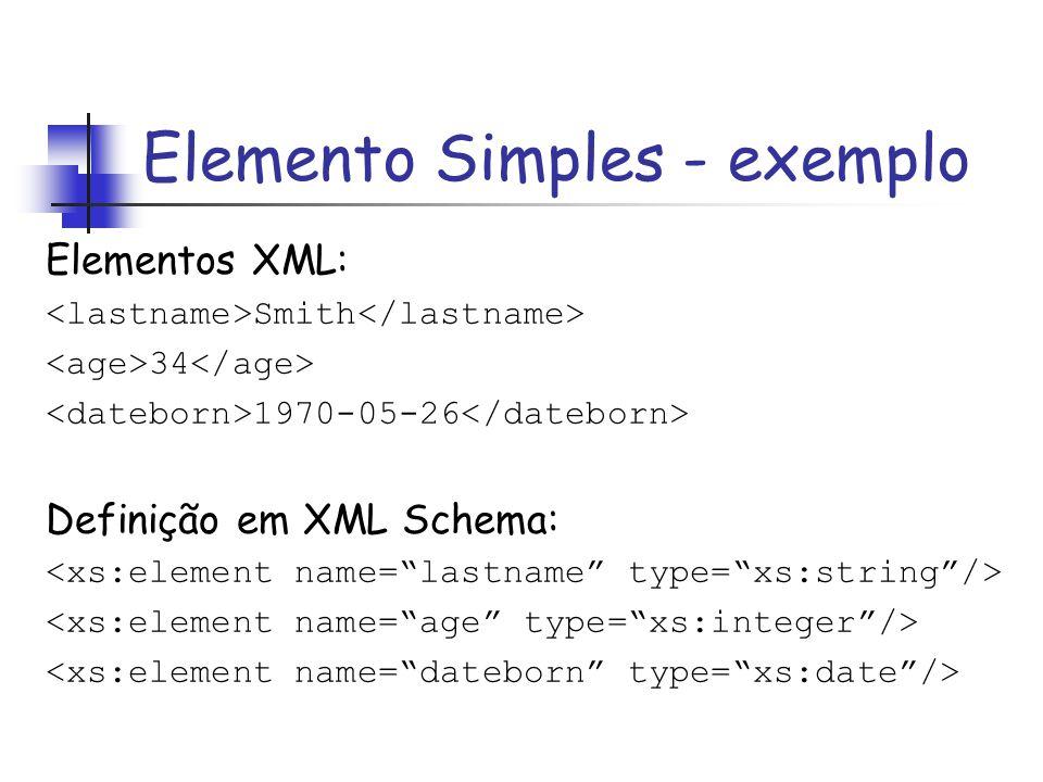 Elementos XML: Smith 34 1970-05-26 Definição em XML Schema: Elemento Simples - exemplo
