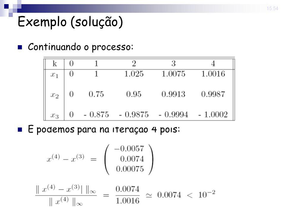 14 Nov 2008. 15:54 Exemplo (solução) Continuando o processo: E podemos para na iteração 4 pois: