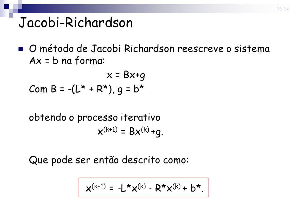 14 Nov 2008. 15:54 Jacobi-Richardson O método de Jacobi Richardson reescreve o sistema Ax = b na forma: x = Bx+g Com B = -(L* + R*), g = b* obtendo o