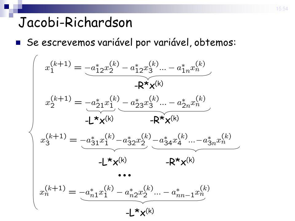 14 Nov 2008. 15:54 Jacobi-Richardson Se escrevemos variável por variável, obtemos: -R*x (k) -L*x (k) -R*x (k) -L*x (k)... -L*x (k)