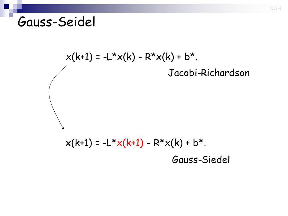 14 Nov 2008. 15:54 Gauss-Seidel x(k+1) = -L*x(k) - R*x(k) + b*. Jacobi-Richardson x(k+1) = -L*x(k+1) - R*x(k) + b*. Gauss-Siedel