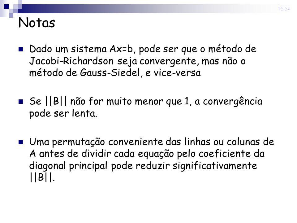 14 Nov 2008. 15:54 Notas Dado um sistema Ax=b, pode ser que o método de Jacobi-Richardson seja convergente, mas não o método de Gauss-Siedel, e vice-v