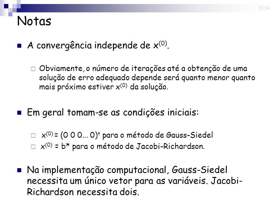 14 Nov 2008. 15:54 Notas A convergência independe de x (0). Obviamente, o número de iterações até a obtenção de uma solução de erro adequado depende s