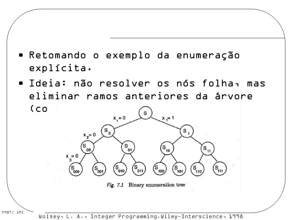 FMBT/ AMC Retomando o exemplo da enumeração explícita. Ideia: não resolver os nós folha, mas eliminar ramos anteriores da árvore (com o auxílio de lim