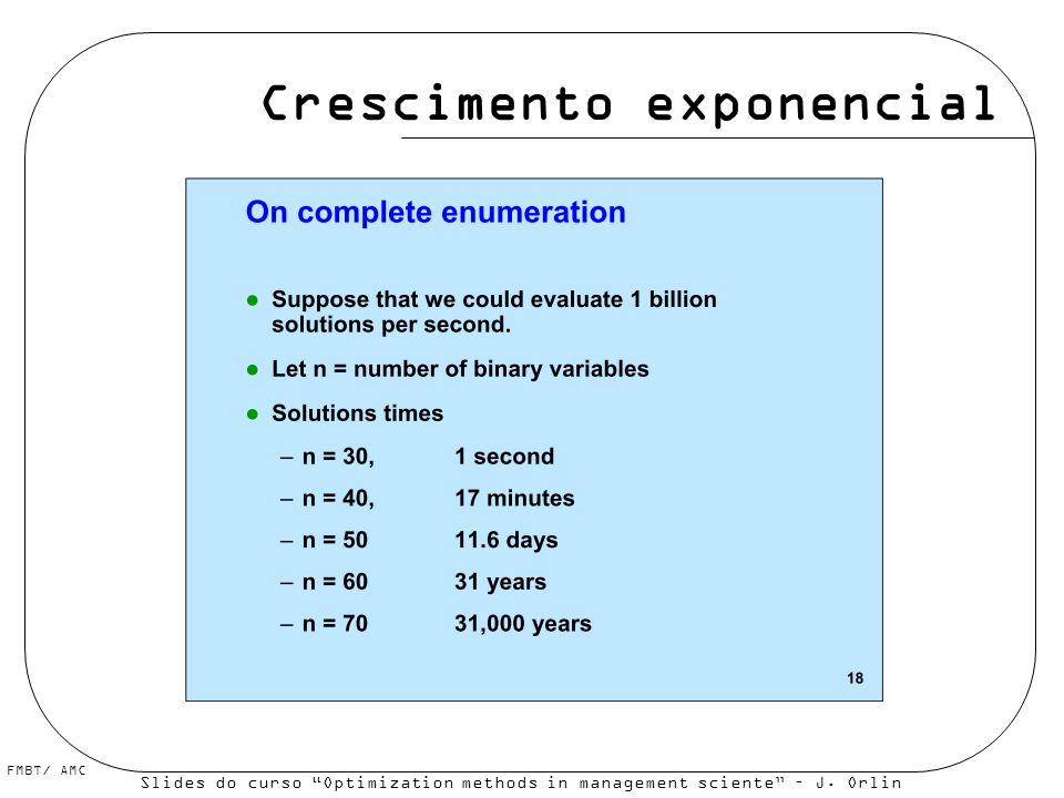 FMBT/ AMC Crescimento exponencial Slides do curso Optimization methods in management sciente – J. Orlin et al., MIT Opencourseware