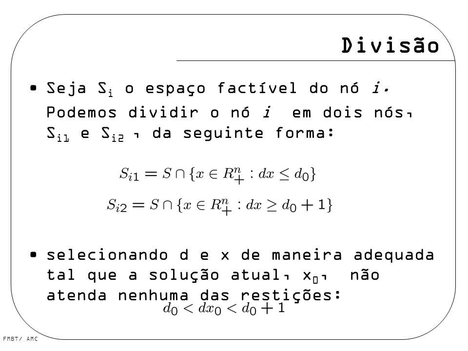 Divisão Seja S i o espaço factível do nó i. Podemos dividir o nó i em dois nós, S i1 e S i2, da seguinte forma: selecionando d e x de maneira adequada