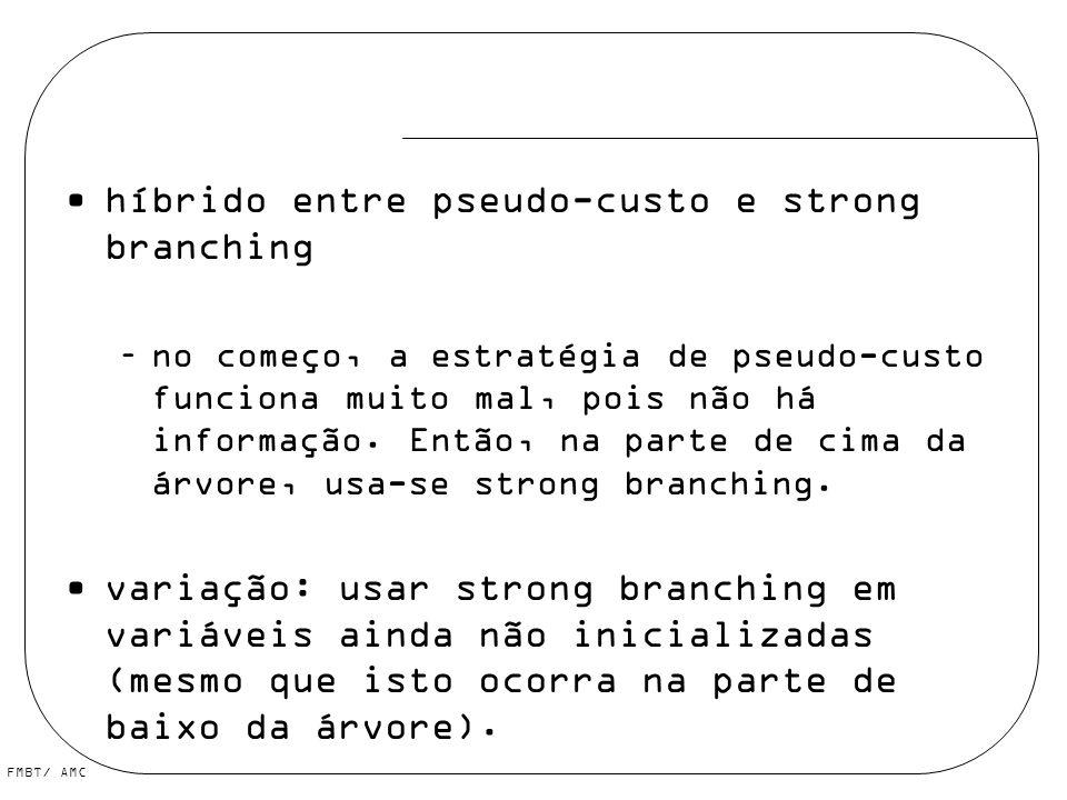 FMBT/ AMC híbrido entre pseudo-custo e strong branching –no começo, a estratégia de pseudo-custo funciona muito mal, pois não há informação. Então, na