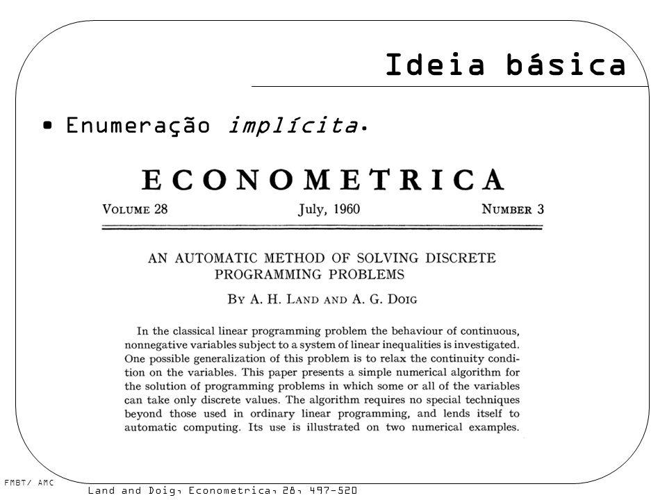FMBT/ AMC Ideia básica Enumeração implícita. Land and Doig, Econometrica, 28, 497-520